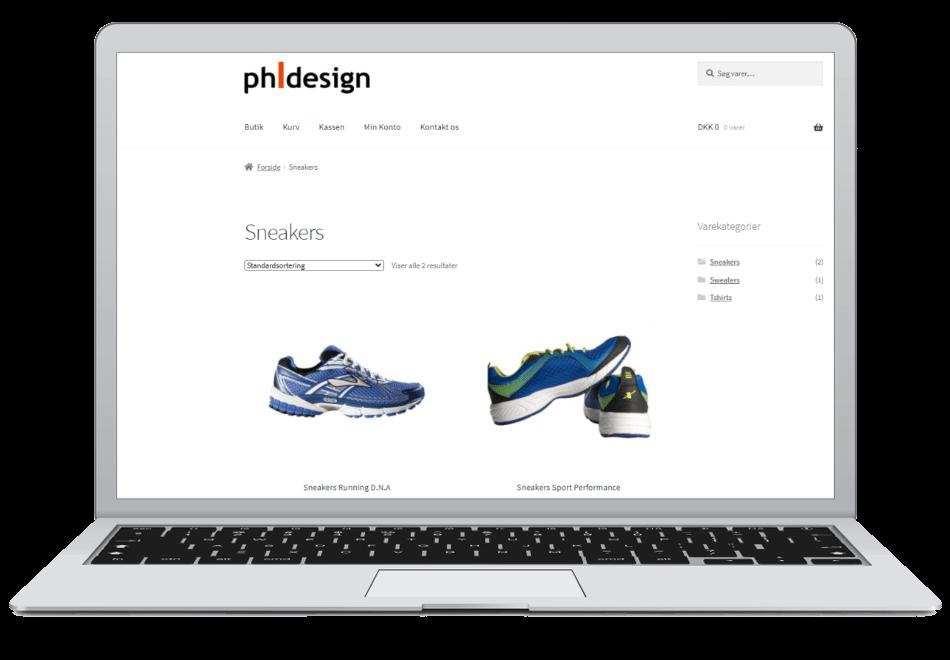webshop med produkter i sko
